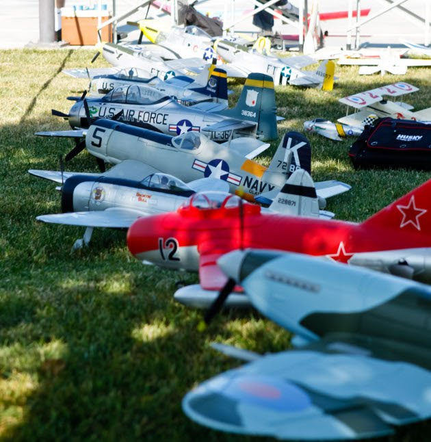 One Warbirds over Conejo static display line